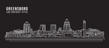 Linha projeto da construção da arquitetura da cidade da ilustração do vetor da arte - cidade de Greensboro ilustração royalty free