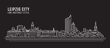Linha projeto da construção da arquitetura da cidade da ilustração do vetor da arte - cidade de Leipzig Fotos de Stock