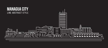 Linha projeto da construção da arquitetura da cidade da ilustração do vetor da arte - cidade de Managua Imagem de Stock Royalty Free
