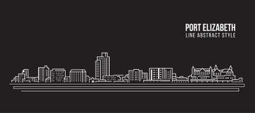 Linha projeto da construção da arquitetura da cidade da ilustração do vetor da arte - cidade de Port Elizabeth ilustração do vetor