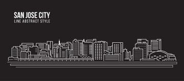 Linha projeto da construção da arquitetura da cidade da ilustração do vetor da arte - cidade de San Jose Fotografia de Stock