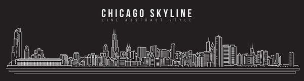 Linha projeto da construção da arquitetura da cidade da ilustração do vetor da arte - skyline de Chicago Imagem de Stock
