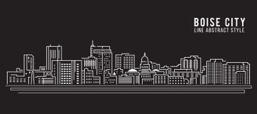 Linha projeto da construção da arquitetura da cidade da ilustração do vetor da arte - Boise City Fotos de Stock Royalty Free