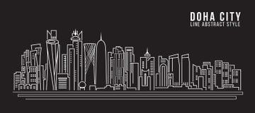 Linha projeto da construção da arquitetura da cidade da ilustração do vetor da arte - cidade de doha Foto de Stock Royalty Free