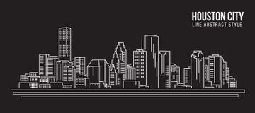 Linha projeto da construção da arquitetura da cidade da ilustração do vetor da arte - cidade de Houston ilustração stock