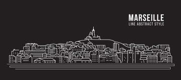 Linha projeto da construção da arquitetura da cidade da ilustração do vetor da arte - cidade de Marselha ilustração stock