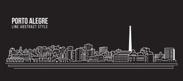 Linha projeto da construção da arquitetura da cidade da ilustração do vetor da arte - cidade de Porto Alegre ilustração stock