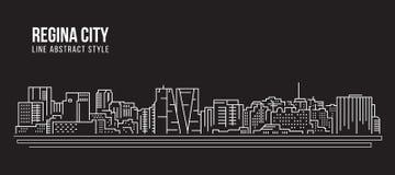 Linha projeto da construção da arquitetura da cidade da ilustração do vetor da arte - cidade de Regina