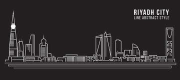Linha projeto da construção da arquitetura da cidade da ilustração do vetor da arte - cidade de Riyadh Fotos de Stock Royalty Free