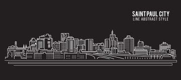Linha projeto da construção da arquitetura da cidade da ilustração do vetor da arte - cidade de Saint Paul ilustração do vetor