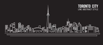 Linha projeto da construção da arquitetura da cidade da ilustração do vetor da arte - cidade de Toronto Fotos de Stock Royalty Free