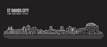 Linha projeto da construção da arquitetura da cidade da ilustração do vetor da arte - cidade do St Davids ilustração royalty free