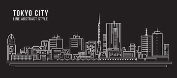 Linha projeto da construção da arquitetura da cidade da ilustração do vetor da arte - cidade do Tóquio