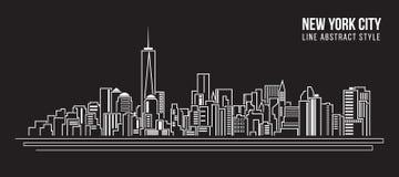 Linha projeto da construção da arquitetura da cidade da ilustração do vetor da arte - New York City Fotografia de Stock Royalty Free