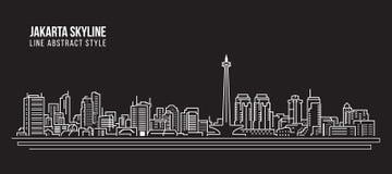 Linha projeto da construção da arquitetura da cidade da ilustração do vetor da arte - skyline da cidade de Jakarta Foto de Stock