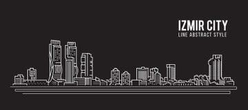 Linha projeto da construção da arquitetura da cidade da ilustração do vetor da arte - cidade de Izmir Fotografia de Stock Royalty Free