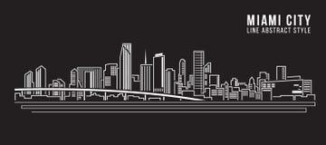 Linha projeto da construção da arquitetura da cidade da ilustração do vetor da arte - cidade de Miami Imagem de Stock