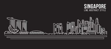 Linha projeto da construção da arquitetura da cidade da ilustração do vetor da arte - Singapura Foto de Stock Royalty Free