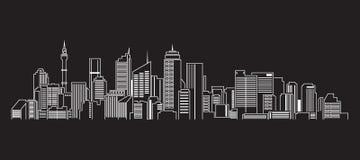 Linha projeto da construção da arquitetura da cidade da ilustração do vetor da arte (Sydney) Fotografia de Stock Royalty Free