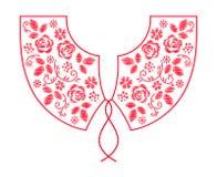 Linha projeto do pescoço do bordado com vetor das flores imagens de stock