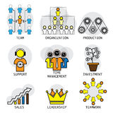 Linha projeto do vetor da estrutura, da liderança, da equipe & do teamw do escritório Imagens de Stock