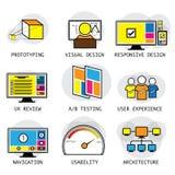 Linha projeto do vetor de conceitos da experiência da interface de utilizador & do usuário Foto de Stock