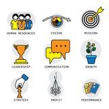 Linha projeto do vetor dos conceitos da empresa, do desempenho & do crescimento Imagem de Stock Royalty Free