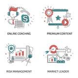 Linha projeto liso para em linha treinar, gestão de riscos, lider do mercado ilustração royalty free