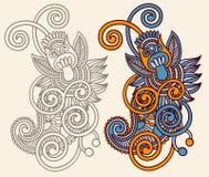 Linha projeto ornamentado da flor da arte Imagem de Stock Royalty Free