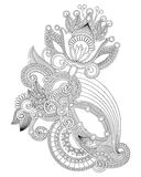 Linha projeto ornamentado da tração da mão da flor da arte Fotografia de Stock Royalty Free