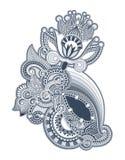 Linha projeto ornamentado da tração da mão da flor da arte Imagem de Stock Royalty Free