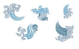 Linha projeto tailandês da onda de água para a tatuagem Onda do japonês para o fundo da tatuagem ilustração stock