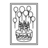 Linha quadro com aniversário das velas e dos balões do bolo ilustração stock