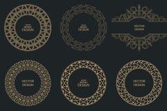Linha quadros do monograma do vintage Imagens de Stock Royalty Free