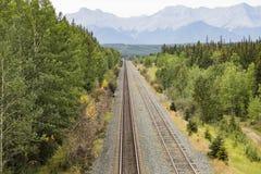 Linha Railway através de Montanhas Rochosas Fotos de Stock