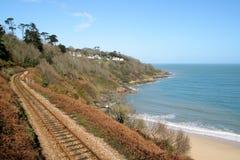 Linha railway da costa de Cornualha. Imagens de Stock