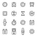 Linha relacionada ícones do vetor do tempo Imagem de Stock