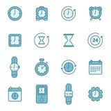 Linha relacionada ícones do vetor do tempo Fotografia de Stock