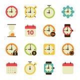 Linha relacionada ícones do vetor do tempo Imagens de Stock