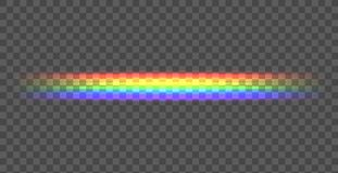 Linha reta do arco-íris do vetor, ilustração de brilho no fundo escuro, linha transparente ilustração do vetor