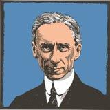 Linha retrato de Bertrand Russell da arte ilustração do vetor