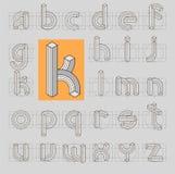 Linha retro impossível fonte ABC de 3D Imagem de Stock Royalty Free