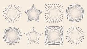 Linha retro respingo da luz do sol do sumário do starburst do sunburst do vintage ilustração stock