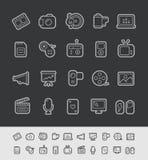 Linha série do preto de //dos ícones dos meios Foto de Stock Royalty Free