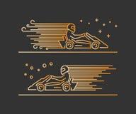Linha símbolo karting do vetor Imagem de Stock Royalty Free