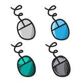 Linha símbolos do vetor do ícone do rato do computador da garatuja Fotos de Stock
