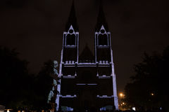 Linha sólido do ponto de Videomapping da superfície por Daniel Rossa em churs de Ludmila de Saint no festival 2016 da luz de sina Imagens de Stock