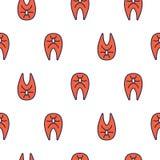 Linha Salmon teste padrão sem emenda da posta do vetor do ícone Fotografia de Stock Royalty Free