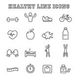 Linha saudável ícones ilustração stock