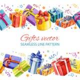 Linha sem emenda teste padrão com os presentes do Natal e do ano novo watercolor Foto de Stock